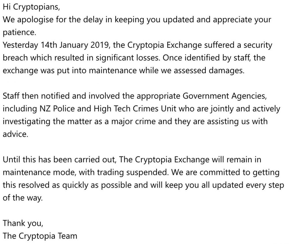 Cryptocurrency exchange Cryptopia's tweet about the hack.