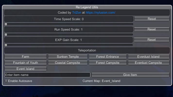 Re:Legend Utils v1.0 mod UI